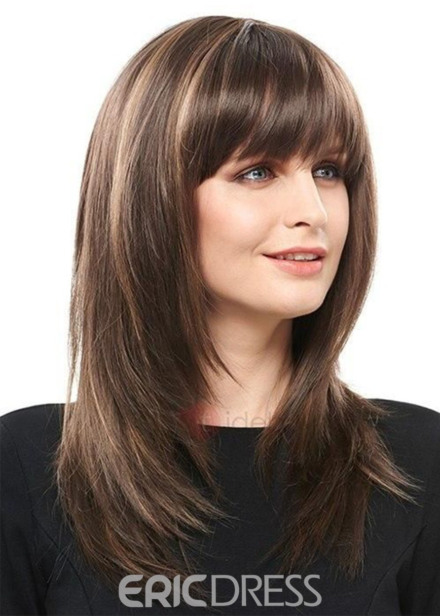 Medium Bob Layered Hairstyles Natural Straight Human Hair Wigs With Bangs Lace Front Cap Wigs 18Inch