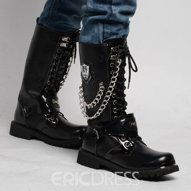 Ericdress Plain Chain Lace-Up Front Round Toe Men's Boots