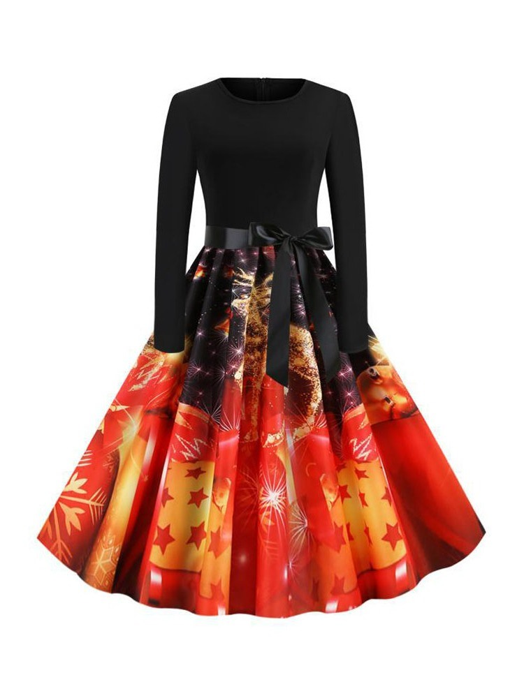 Ericdress Christmas Pattern Print Round Neck Mid-Calf Party/Cocktail Winter Dress
