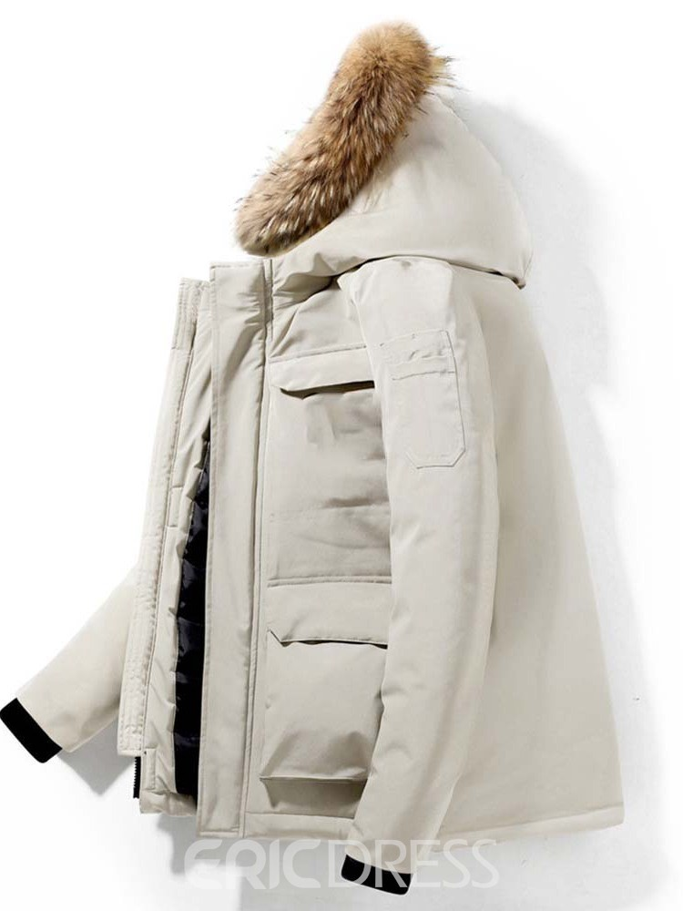 Ericdress Mid-Length Hooded Zipper Casual Down Jacket