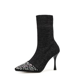 Ericdress Rhinestone Slip-On Stiletto Heel Women's Ankle Boots