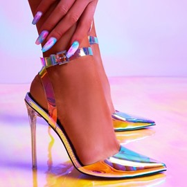 Ericdress Stiletto Heel Ankle Strap Fluorescent Color Women's Sandals