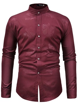 Ericdress Casual Stand Collar Button Men's Slim Shirt