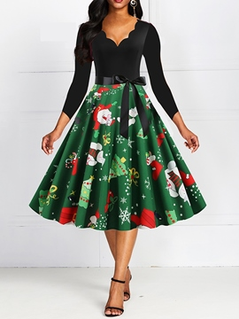 Ericdress Christmas Three-Quarter Sleeve Print V-Neck Expansion Cartoon Dress