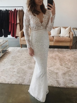 Ericdress Sheath V-Neck Lace Wedding Dress 2019