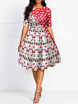 Ericdress Christmas Round Neck Mid-Calf Print Mid Waist Expansion Dress