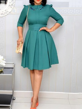 Ericdress Plus Size Knee-Length Round Neck Bowknot A-Line Pullover Dress
