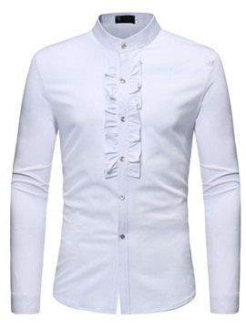 Ericdress Patchwork Stand Collar Casual Slim Single-Breasted Men's Shirt