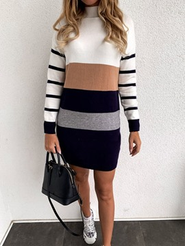 Ericdress Turtleneck Long Sleeve Above Knee Winter Stripe Dress