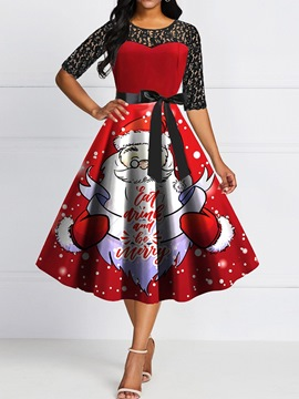 Ericdress Christmas Round Neck Print Half Sleeve Summer Cartoon Dress