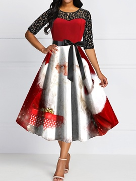 Ericdress Christmas Lace Round Neck Three-Quarter Sleeve Mid Waist Sweet Dress