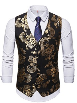 Ericdress Color Block Print V-Neck Single-Breasted Casual Men's Waistcoat