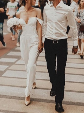 Ericdress Pockets Column Off-The-Shoulder Beach Wedding Jumpsuits 2019