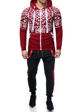 Ericdress Casual Color Block Print Men's Outfit