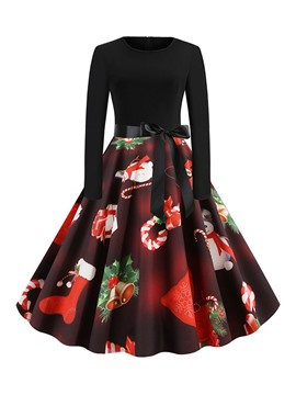 Ericdress Christmas Patchwork Long Sleeve Round Neck A-Line Cartoon Dress