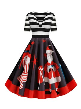 Ericdress Christmas V-Neck Patchwork Mid-Calf Stripe Mid Waist Dress