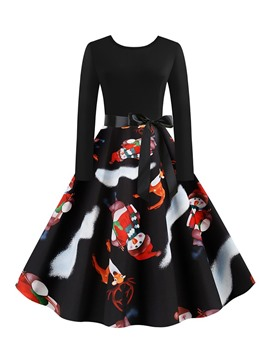 Ericdress Christmas Print Mid-Calf Round Neck Spring Expansion Dress