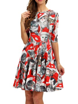 Ericdress Christmas Print Above Knee Half Sleeve Mid Waist A-Line Dress