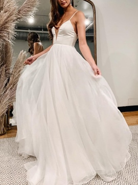 Ericdress Spaghetti Straps A-Line Outdoor Wedding Dress 2019