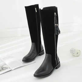 Ericdress Side Zipper Round Toe Patchwork Fringe Women's Knee High Boots