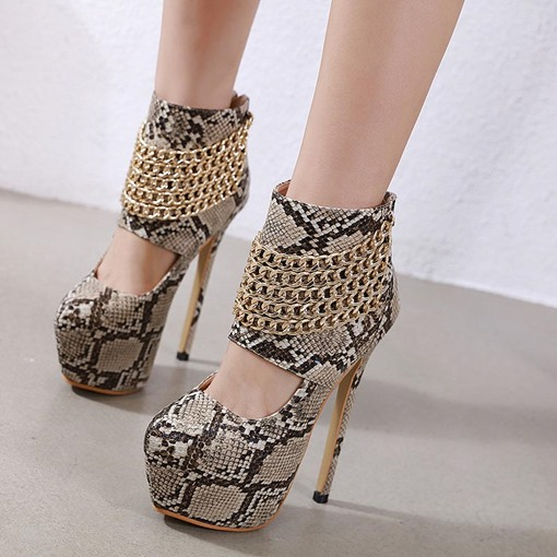 Ericdress Serpentine Chain Zipper Round Toe Women's Ankle Boots