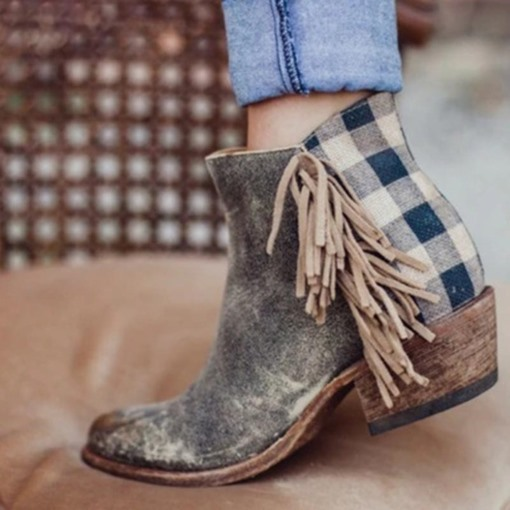 Ericdress Round Toe Side Zipper Plaid Women's Flat Boots