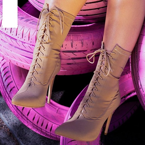 Ericdress Stiletto Heel Lace-Up Front Pointed Toe Women's Ankle Boots