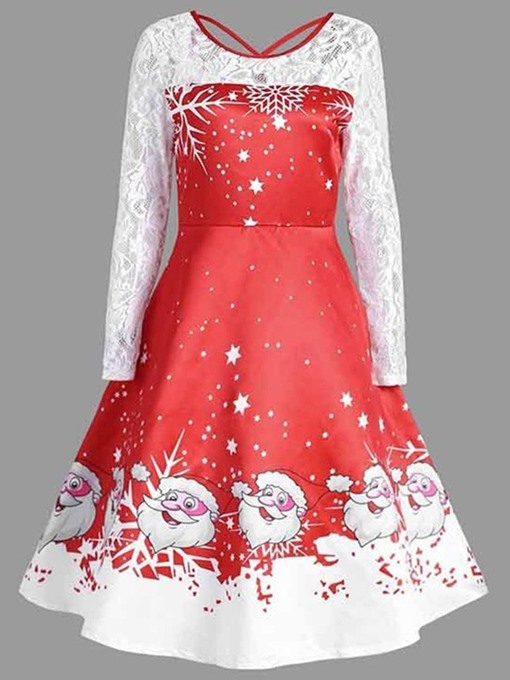 Ericdress Christmas Mid-Calf Round Neck Lace Pullover Fall Dress