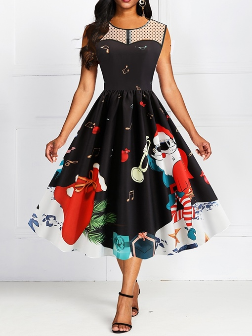 Ericdress Christmas See-Through Sleeveless Round Neck Cartoon Pullover Dress