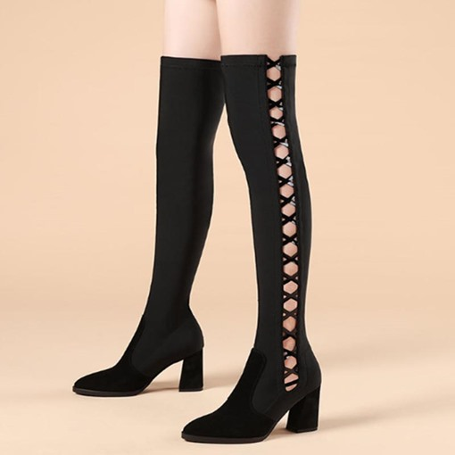 Ericdress Pointed Toe Slip-On Cross Strap Knee High Boots