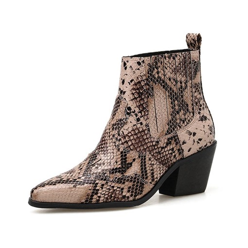 Ericdress Color Block Chunky Heel Slip-On Serpentine Women's Ankle Boots