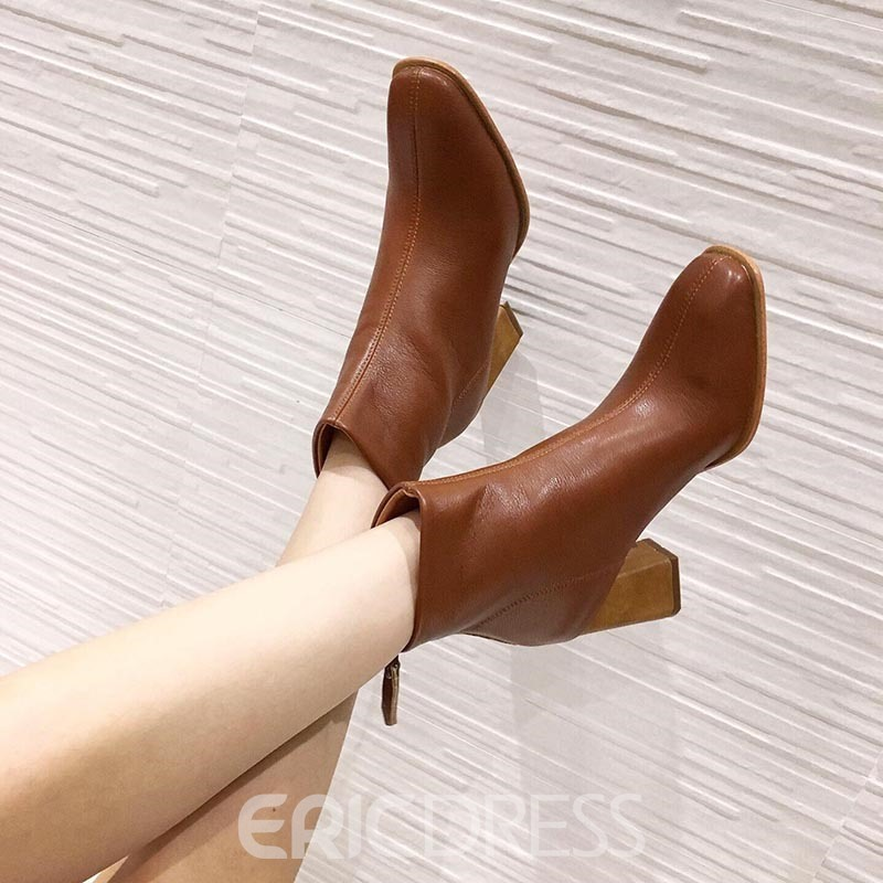Ericdress Plain Round Toe Chunky Heel Simple Women's Ankle Boots