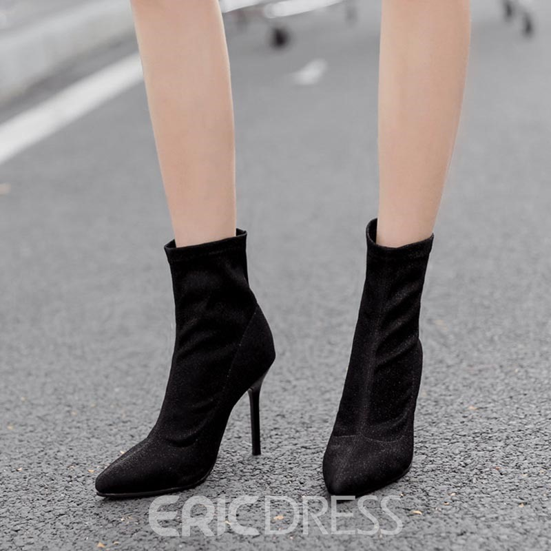 Ericdress PU Stiletto Heel Pointed Toe Women's Ankle Boots
