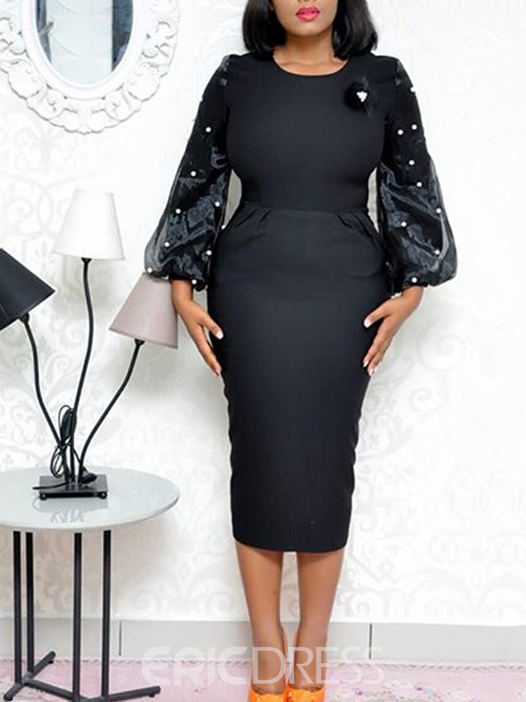 Ericdress Round Neck Mid-Calf Nine Points Sleeve PlusSize Pullover Dress