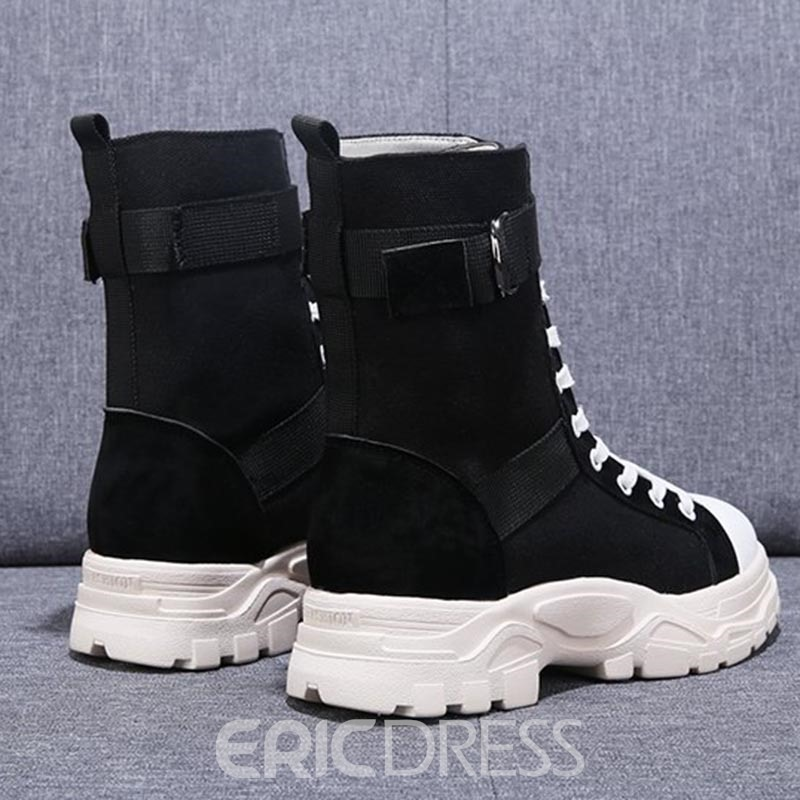 Ericdress Round Toe Patchwork Lace-Up Front Women's Boots