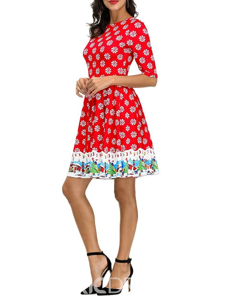 Ericdress Christmas Round Neck Print Short Sleeve Summer Cartoon Dress