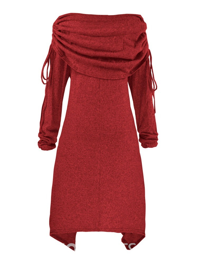 Ericdress Christmas Tree Heap Collar Knee-Length Asymmetric Heap Sleeve Pullover Dress
