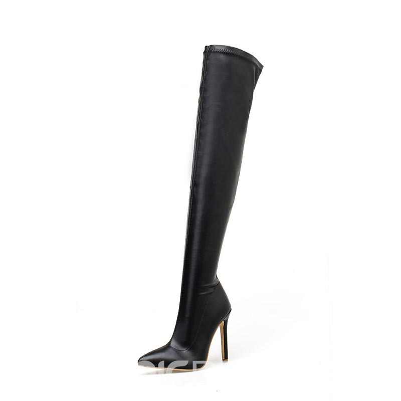 Ericdress Plain Stiletto Heel Pointed Toe Women's Over-The-Knee Boots