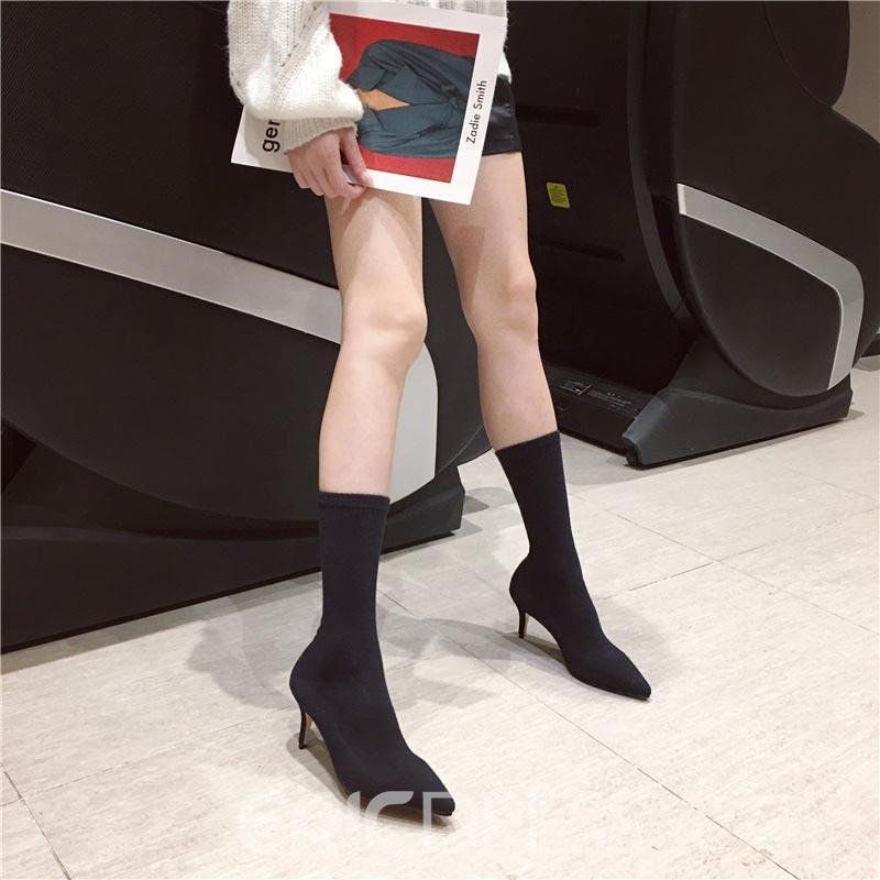 Ericdress Pointed Toe Slip-On Spool Heel Women's Ankle Boots