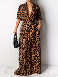 Ericdress Floor-Length Print Half Sleeve Fashion Leopard Dress фото