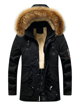 Ericdress Zipper Hooded Mid-Length European Down Jacket