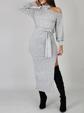 Ericdress Mid-Calf Hollow Long Sleeve Pullover Fall Dress