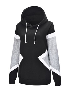 Ericdress Color Block Regular Mid-Length Women's Slim Hoodie