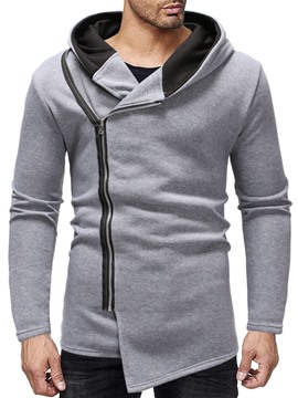 Ericdress Color Block Zipper Thick Slim Men's Hoodies