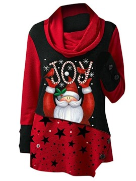 Ericdress Regular Color Block Print Long Sleeve Christmas Women's Hoodie