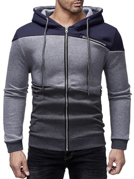 Ericdress Cardigan Color Block Zipper Men's Casual Hoodies