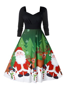 Ericdress Christmas Nine Points Sleeve Mid-Calf Print Pullover High Waist Dress