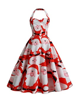 Ericdress Christmas Mid-Calf Print Sleeveless Cartoon Party/Cocktail Dress