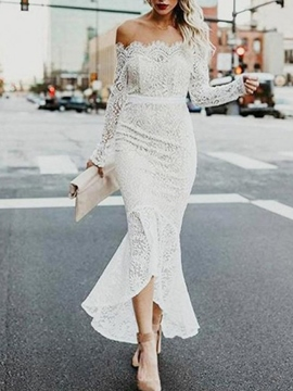 Ericdress Mermaid Lace Long Sleeves Wedding Dress 2019
