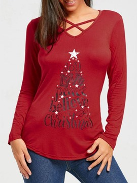 Ericdress Letter Long Sleeve Mid-Length Loose Casual Christmas Women's T-Shirt